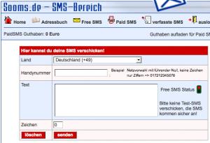 SMS-Eingabe von Sooms.de