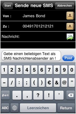 So könnte eine SMS aussehen